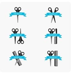 Hair cut emblem vector image