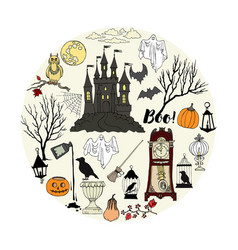 halloween decorations background vector image