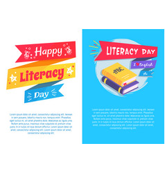 Happy literacy day set poster text i love english vector