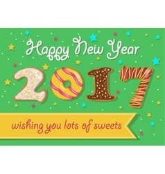 Happy new year 2017 colorful donuts font vector