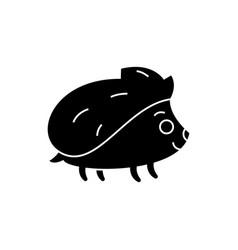 hedgehong cute icon black vector image