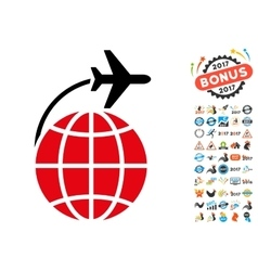 International Flight Icon with 2017 Year Bonus vector image