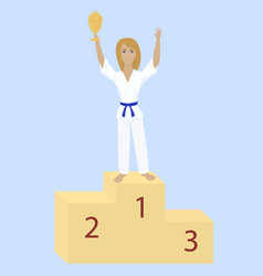 Karate girl with award cup vector