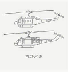 Line flat icon set military turboprop vector