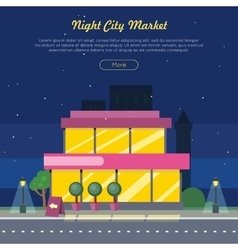 Night city market near road web banner flat design vector