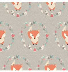 Seamless pattern with cute christmas baby fox vector