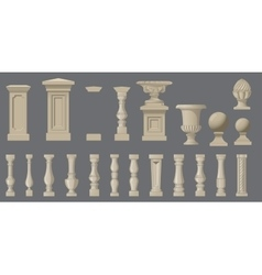 Set of random style balusters with stands vector image vector image