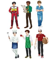 Six employed men vector