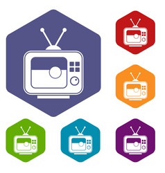 Soccer match on tv icons set hexagon vector