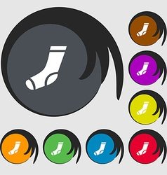 Socks icon sign symbols on eight colored buttons vector