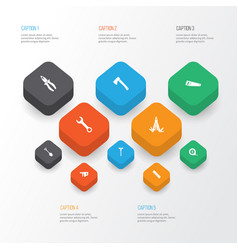Tools icons set collection of handsaw vector