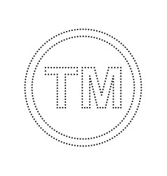 Trade mark sign black dotted icon on vector
