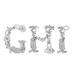 Tropical floral letter ghi vector