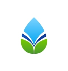 Waterdrop leaf logo water drop and natural leaves vector