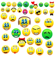 Many emoticons vector