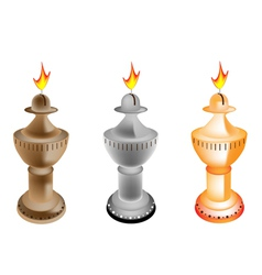 Set of old fashioned oil lamp vector