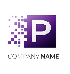Letter p logo symbol in the colorful square with vector