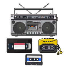 Retro audio cassette tape recorder music player vector