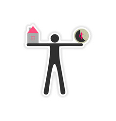 Stylish sticker on paper people house coin vector