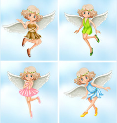 Four fairies with white wings vector