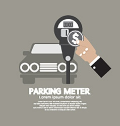 Hand insert coin into parking meter vector