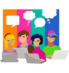 Young people with speech bubbles and computers vector