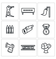 Biathlon icons set vector