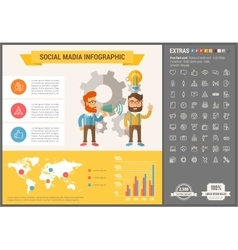 Social media flat design infographic template vector