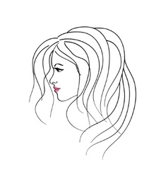 Art sketching girl profile face symbols vector