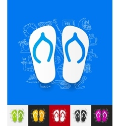 Slippers paper sticker with hand drawn elements vector
