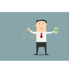Businessman with justice scales and money vector