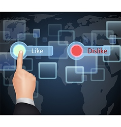 Hand choose like or dislike on virtual screen vector