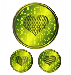 Heart coins vector