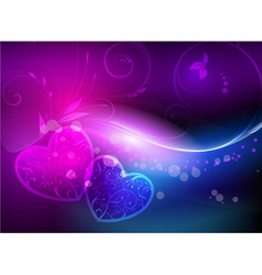 Shiny background with hearts vector image
