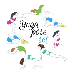 Colored yoga poses set hand-drawn image vector image