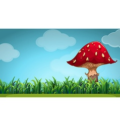 Scene with mushroom in the garden vector