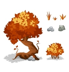 Orange plants trees bushes grass and stone vector