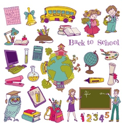 Scrapbook Design Elements - Back to School vector image