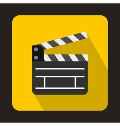 Open clapperboard icon flat style vector