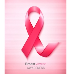 Breast cancer awareness ribbon on a pink vector image vector image