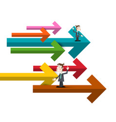 Businessmen with colorful paper arrows of men in vector