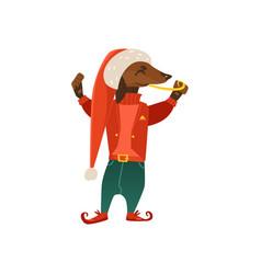 Cartoon christmas elf costume dog character vector