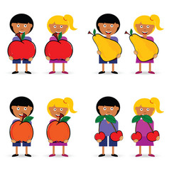 Children holding fruit item set vector