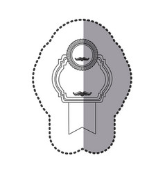 Contour emblem with symbols inside icon vector