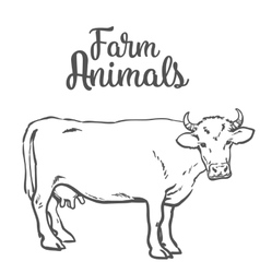 Cow in sketch style farm animals vector