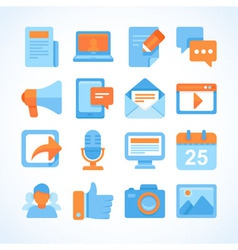 Flat icon set of blogging symbols vector