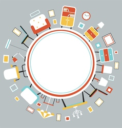Furniture Flat Icons in Round Frame vector image vector image
