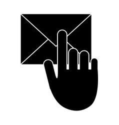Hand touch envelope email message pictogram vector