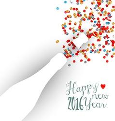 Happy new year 2016 confetti celebration champagne vector