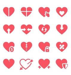 Heart icon set vector image vector image